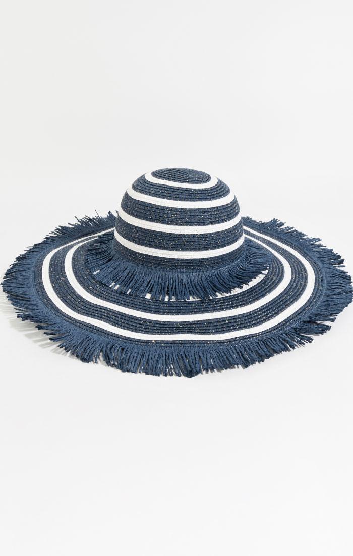 Navy and white wide brim straw hat