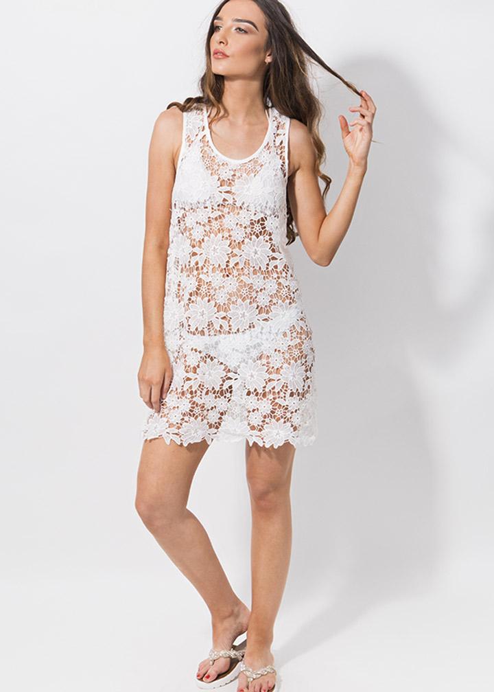 Flamingo Beachdress White-0