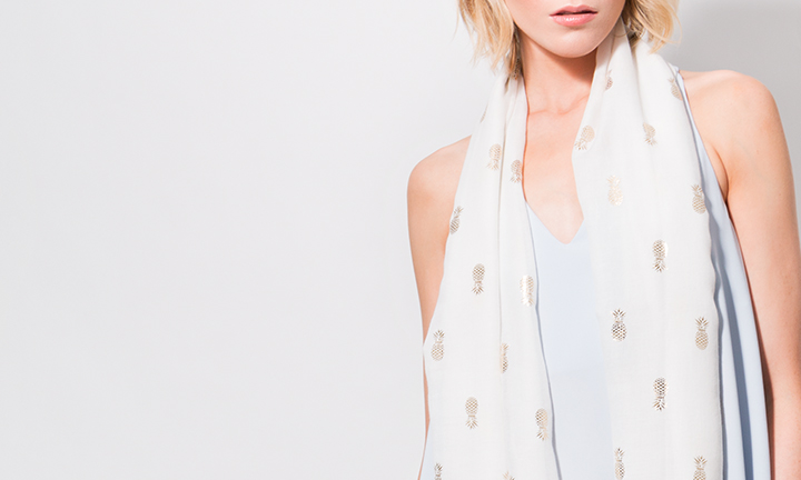 Pina Scarf White/Gold-8836