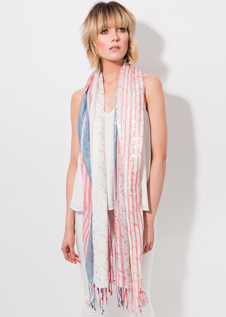 Rochelle Scarf Red/Blue-0