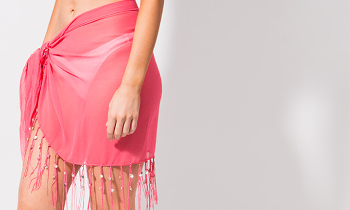Mini sarong with tassels, pink