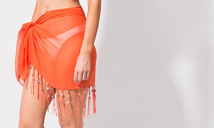 Mini sarong with tassels, orange