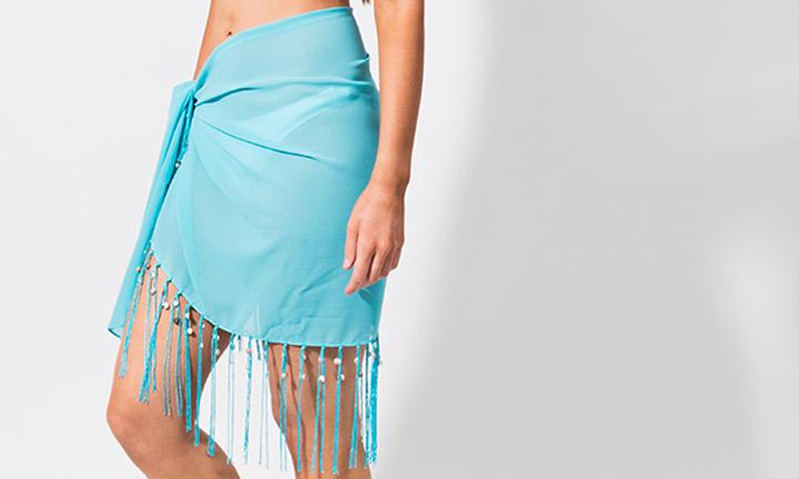 Mini sarong with tassels, blue