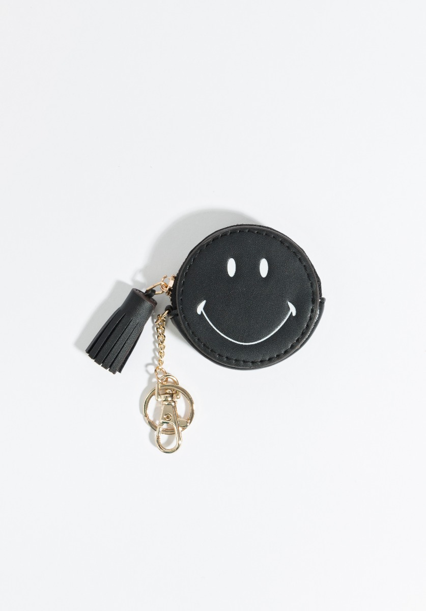 Smiley Key Ring Black-11308