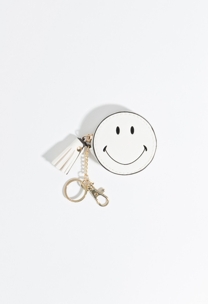 Smiley Key Ring White-0