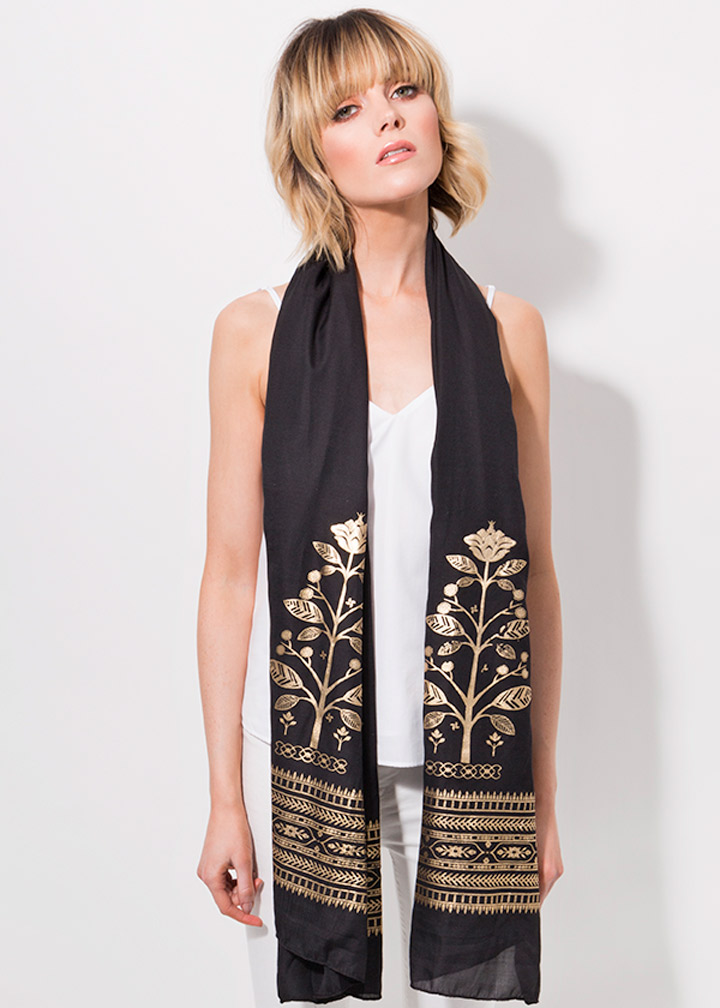 Tiberia Scarf Black/Gold-0