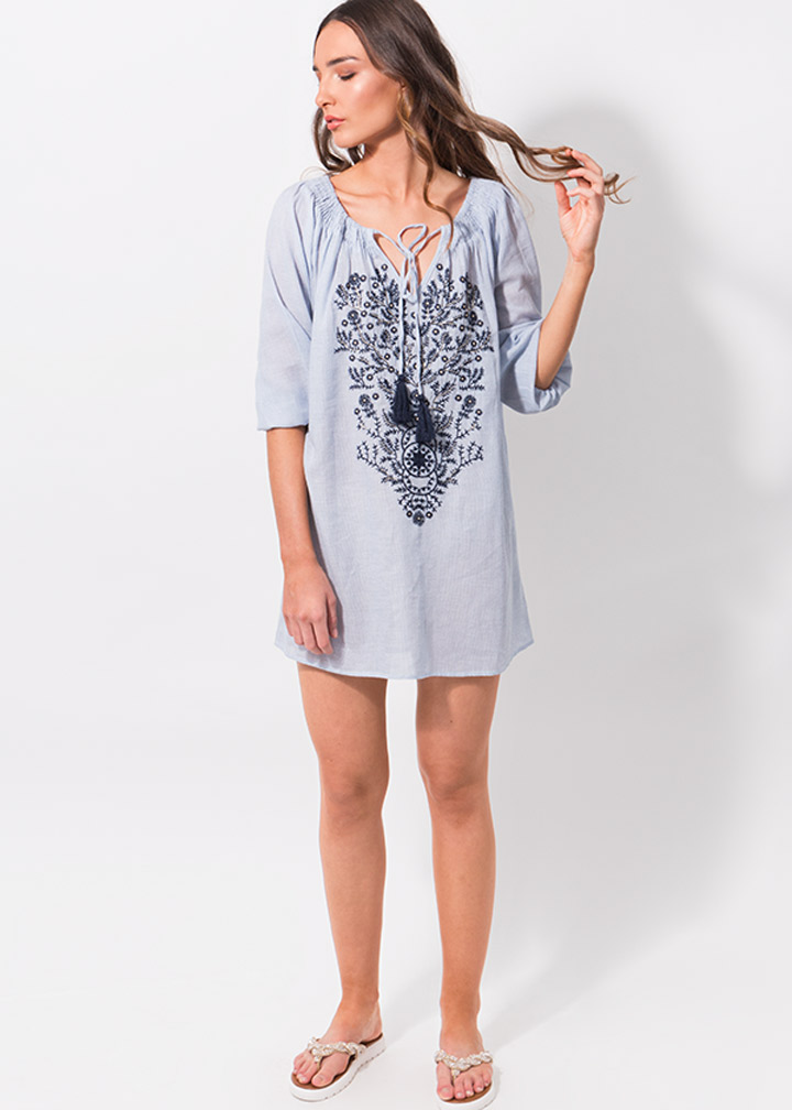 Valletta Tunic Blue/White-8227