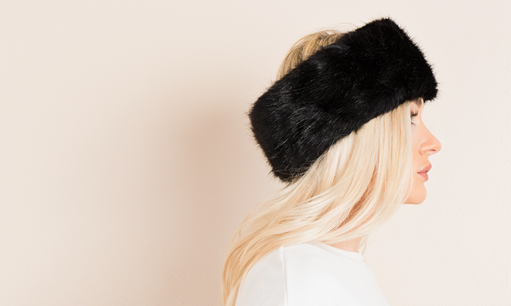 Black soft faux fur headband with a soft warm fleece lining.