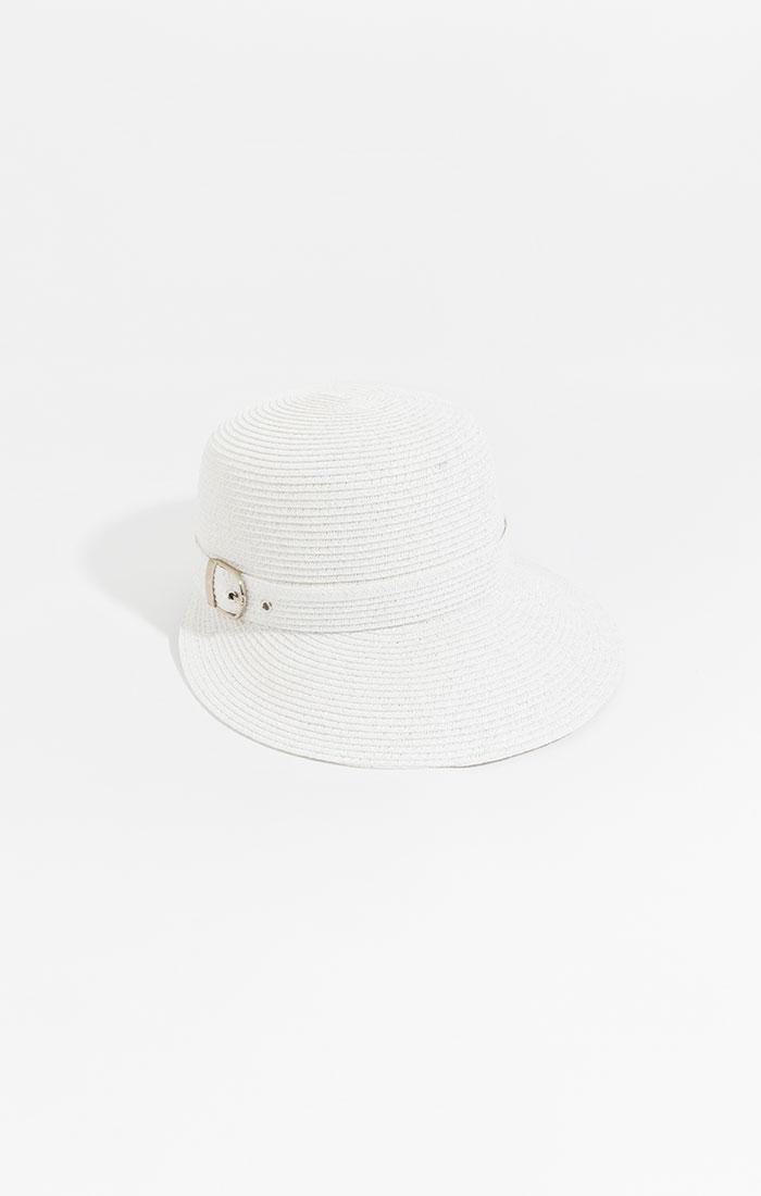 Peaked straw hat, white
