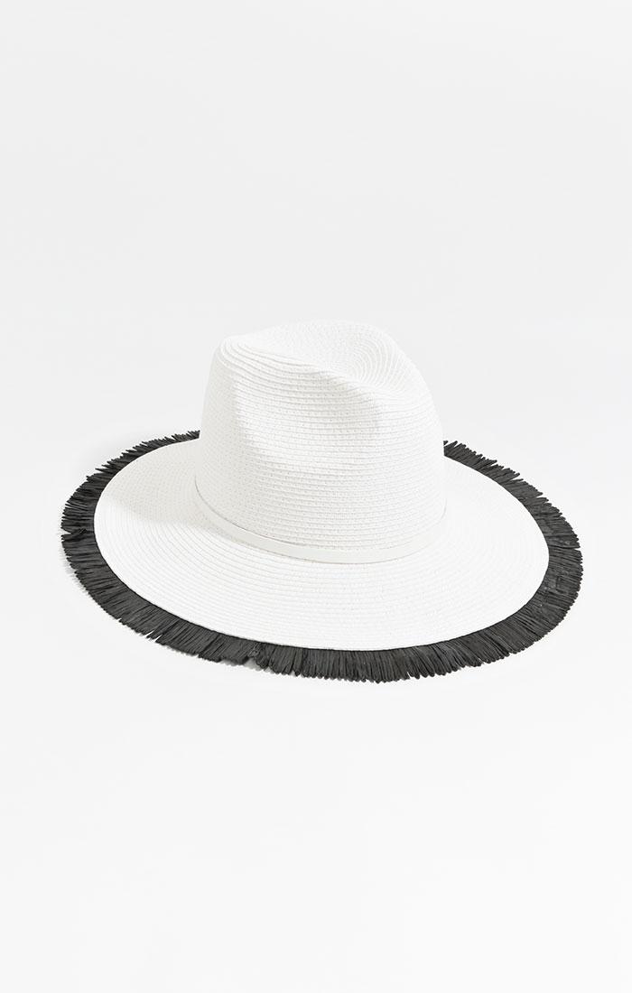 White straw hat, black fringe trim