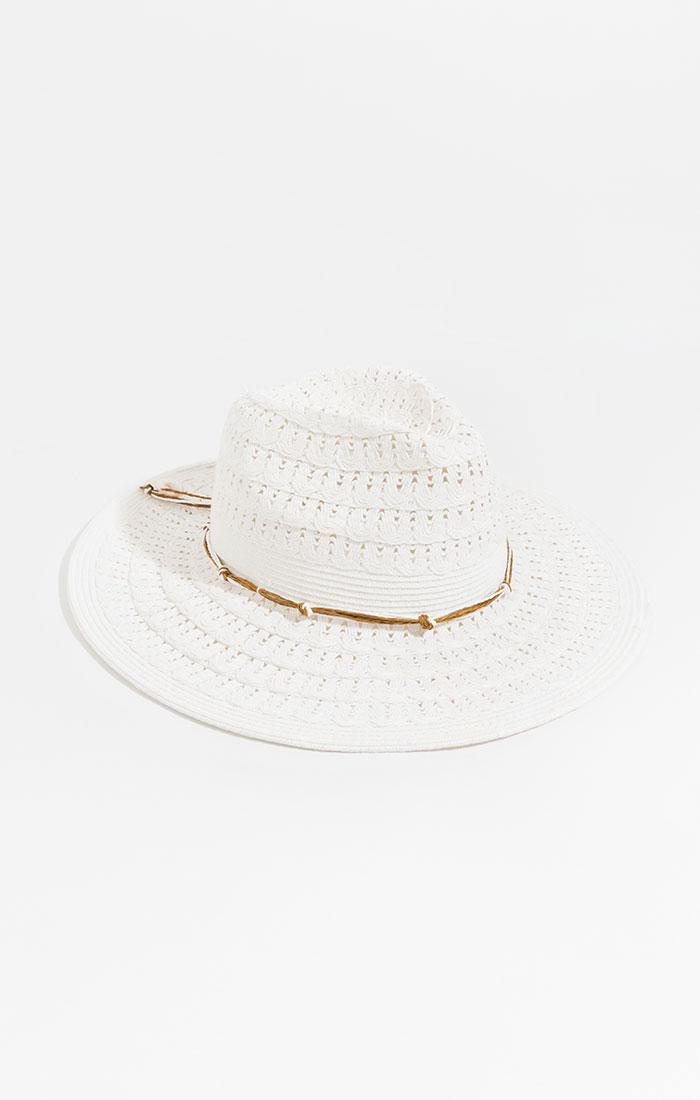 Weaved straw hat, white