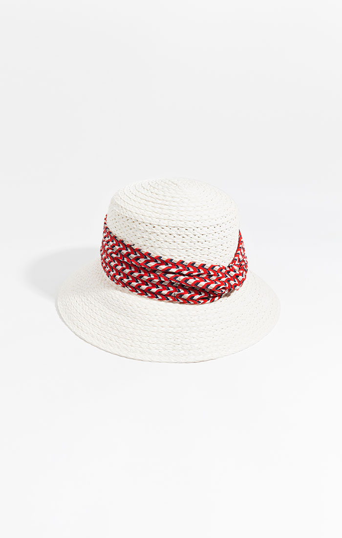 White straw hat with printed band