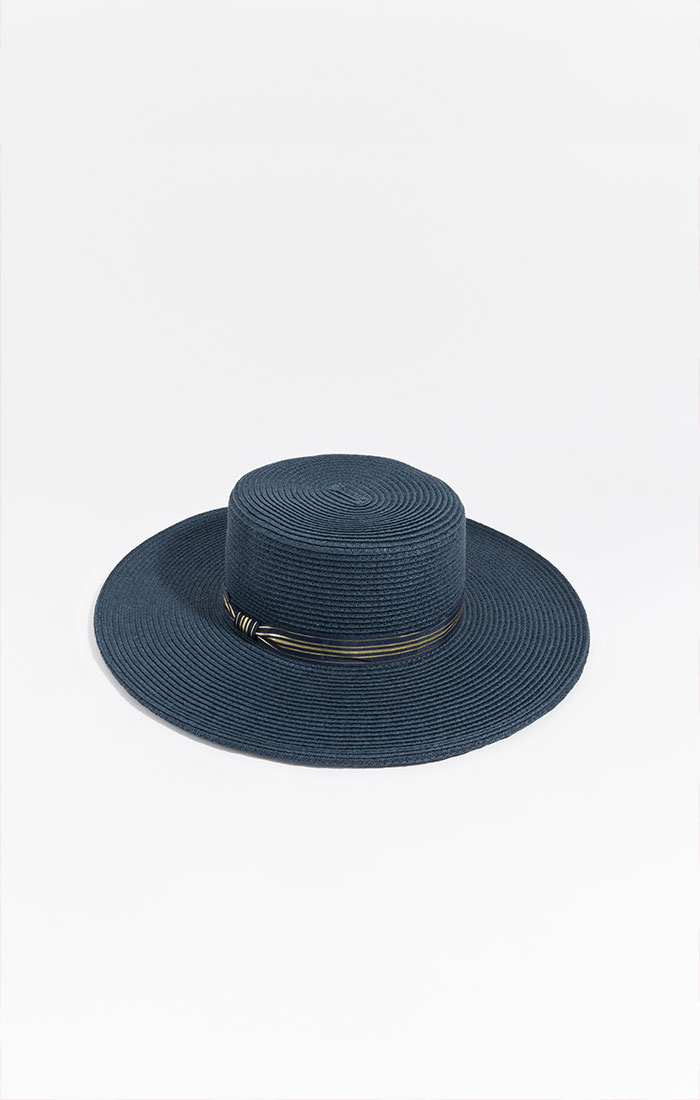 Navy boater hat with gold ribbon