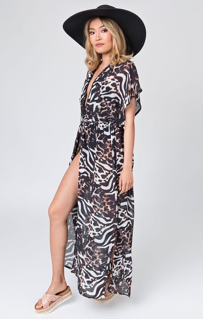 Animal print beach maxi dress