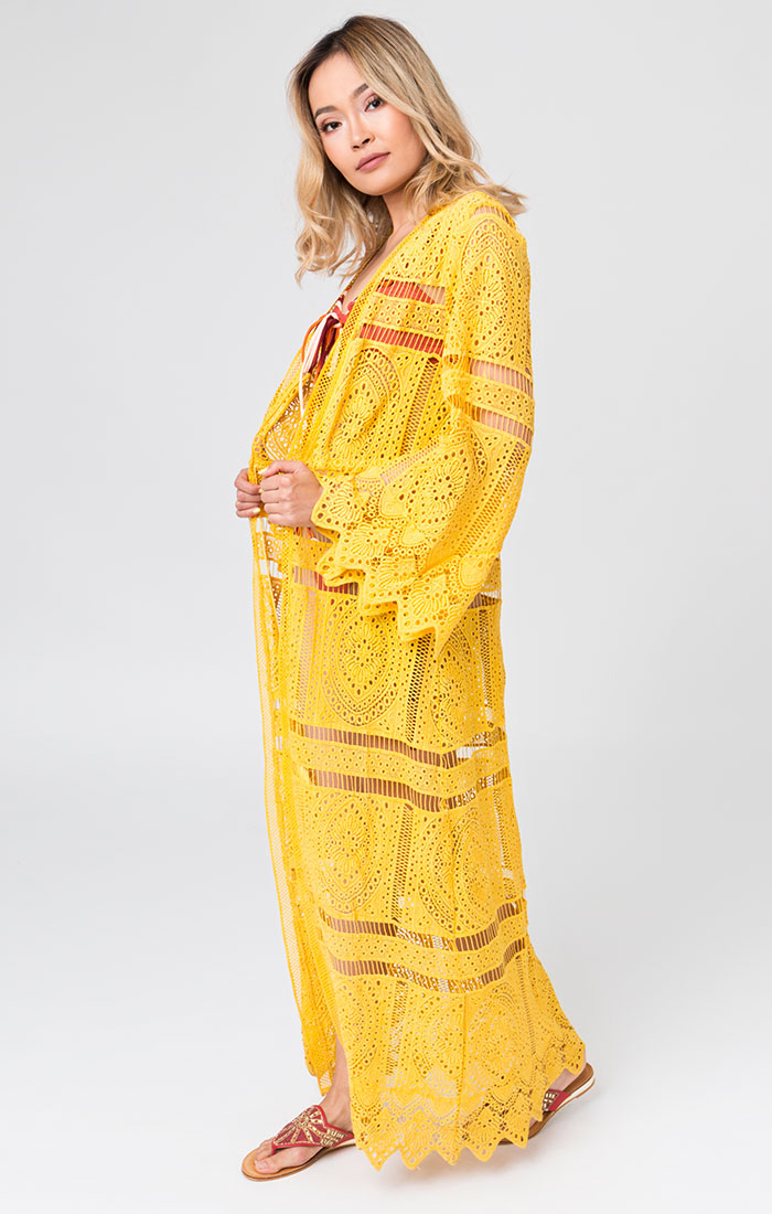 Yellow lace maxi beach cover up