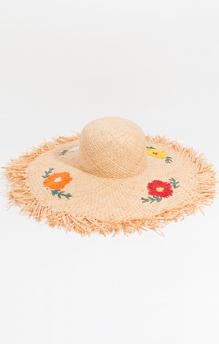 Straw hat, floral embroidery
