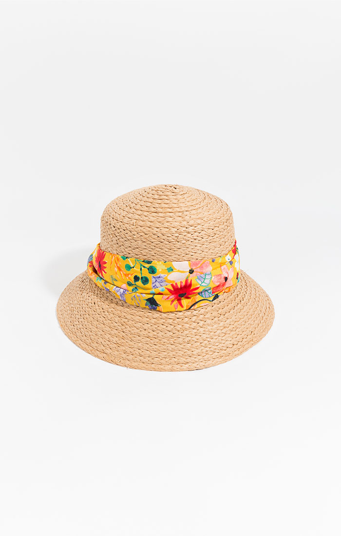 Straw bucket hat with printed band