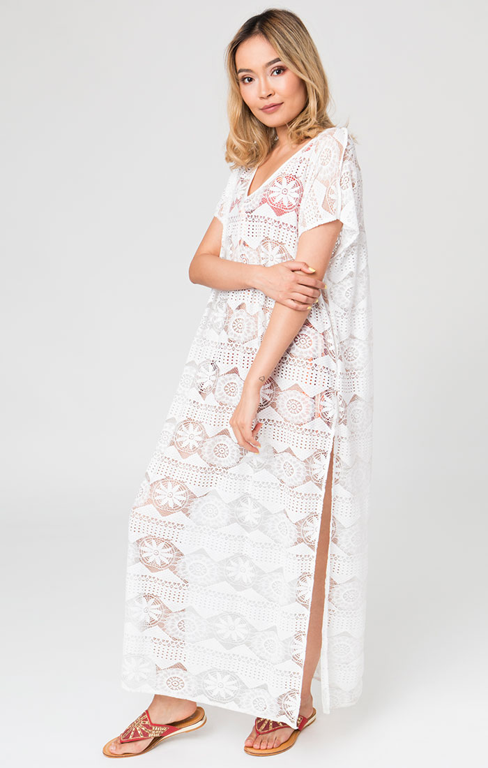 White lace maxi length beach cover up