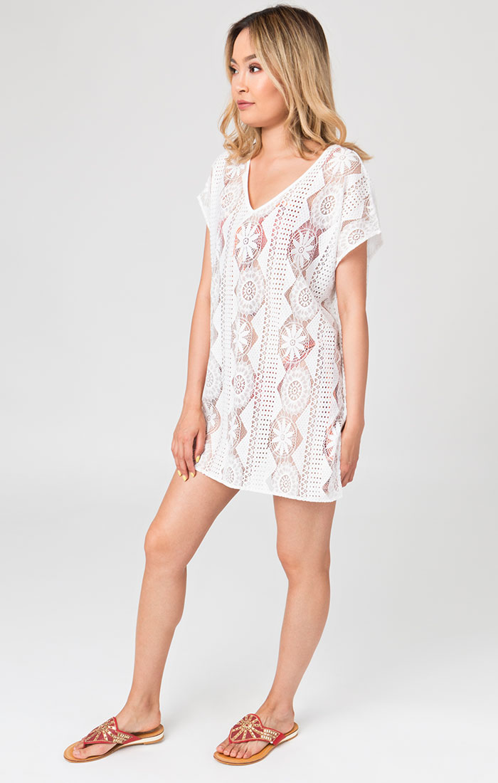 White short lace beach cover up