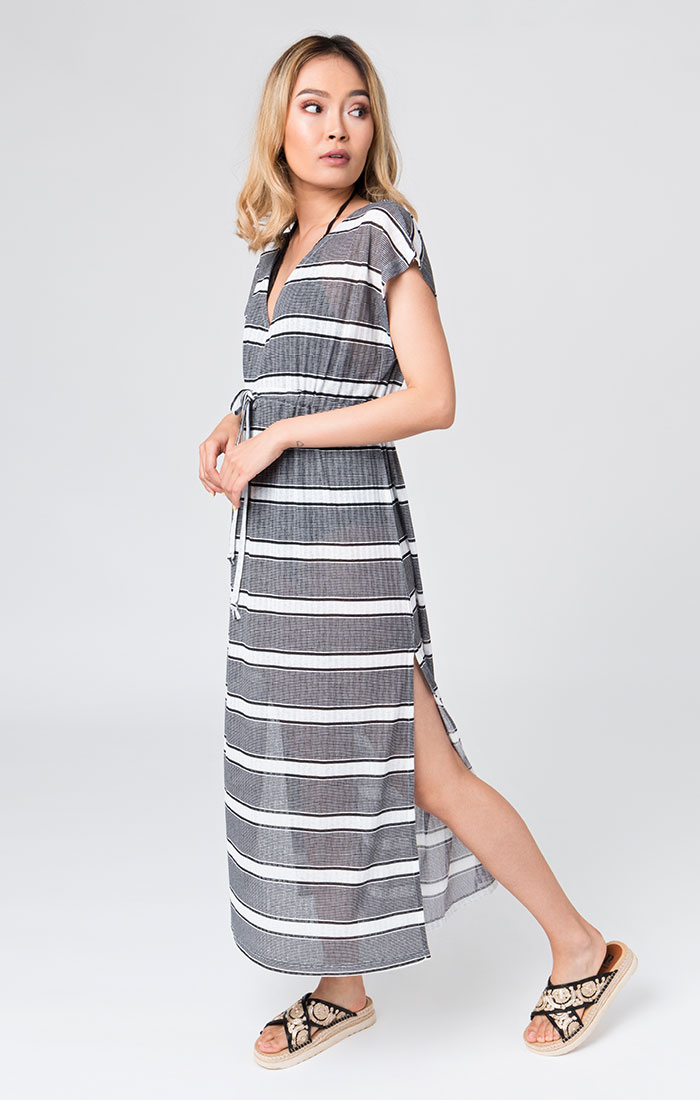 black and white maxi beach dress