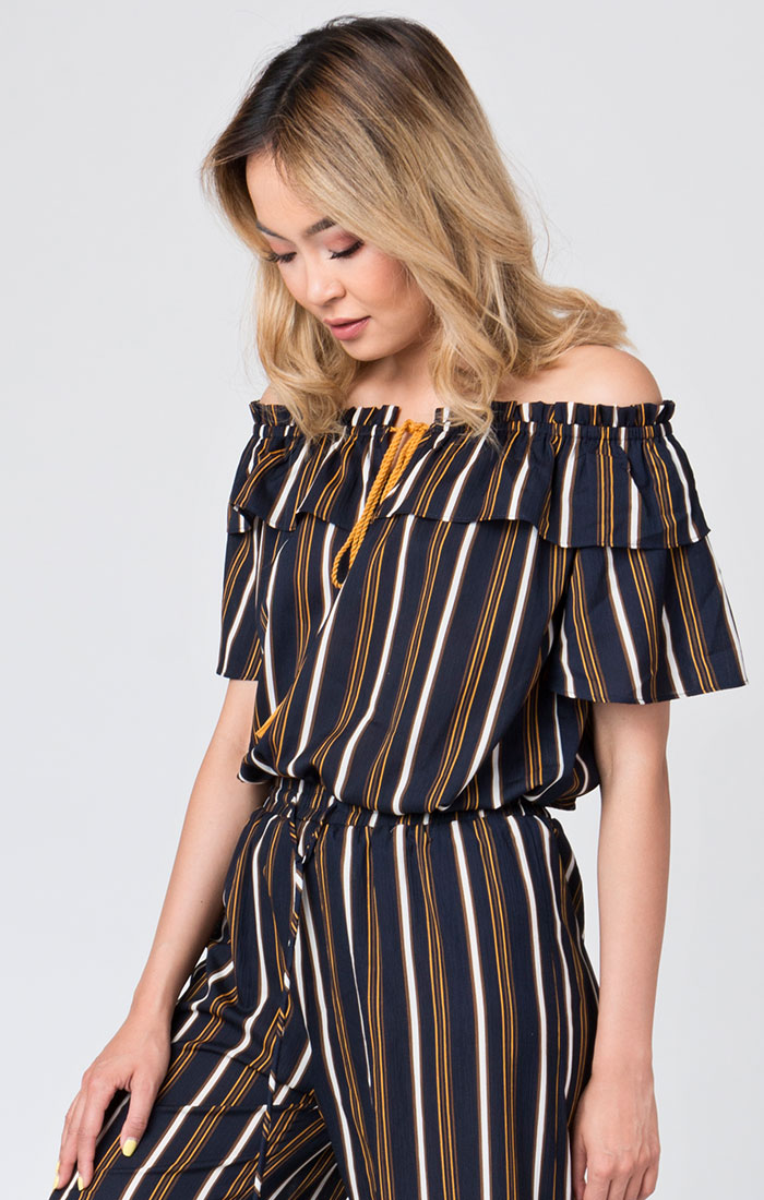 Navy striped bardot top