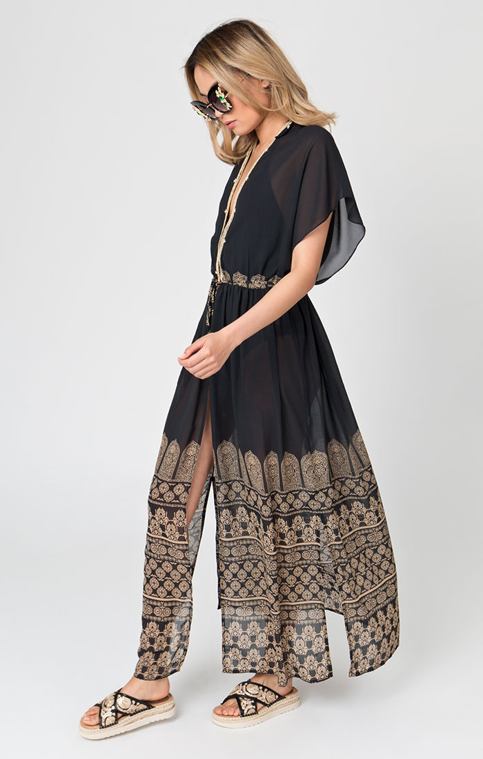 Black maxi length beach cover ups