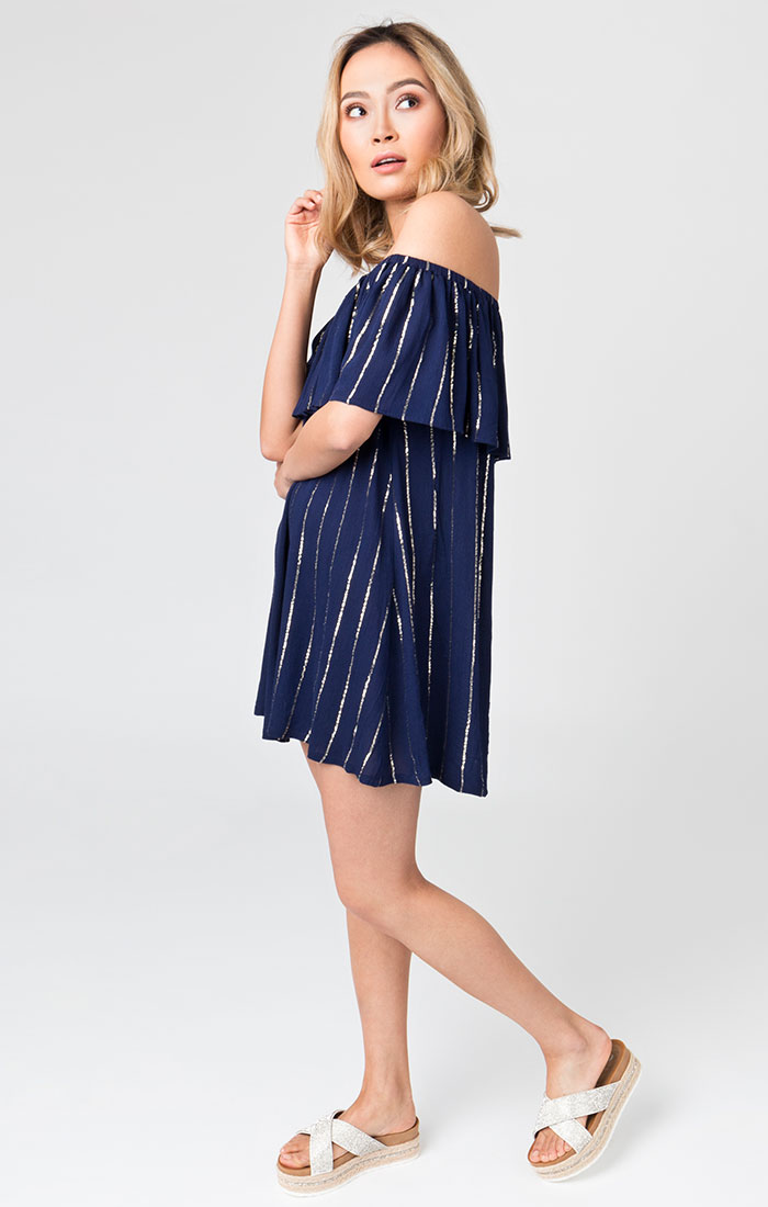 Shory navy and silver beach dress