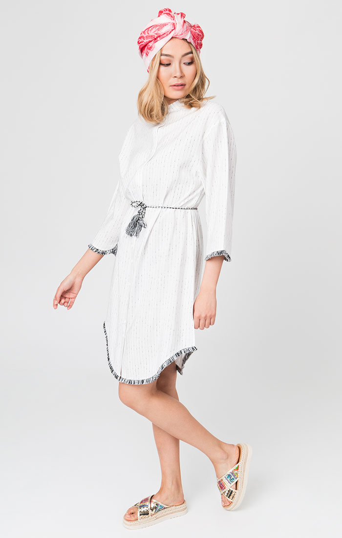 White shirt style tunic dress