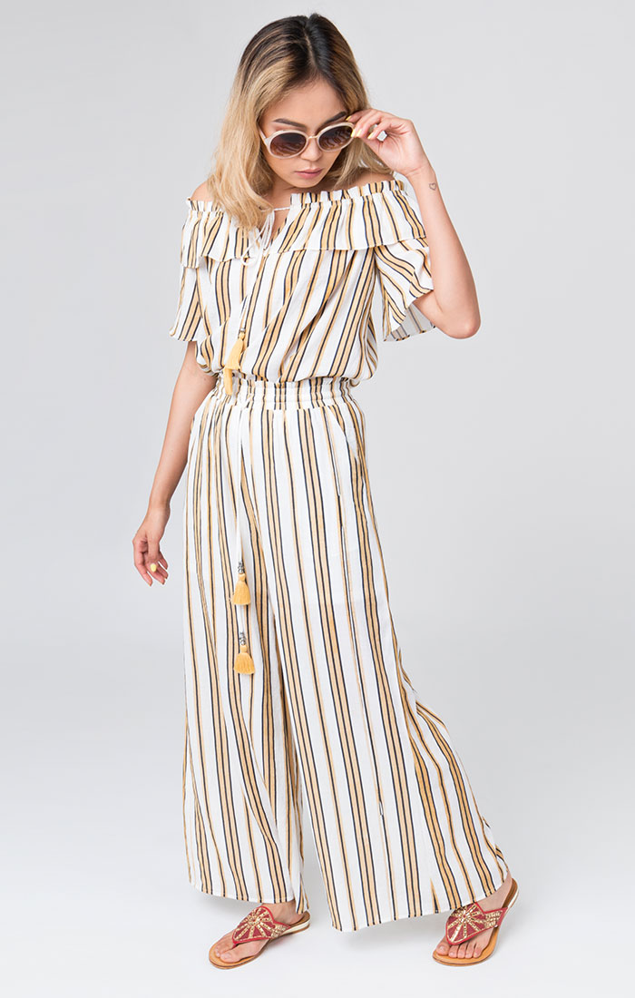 Yellow and white striped summer trousers