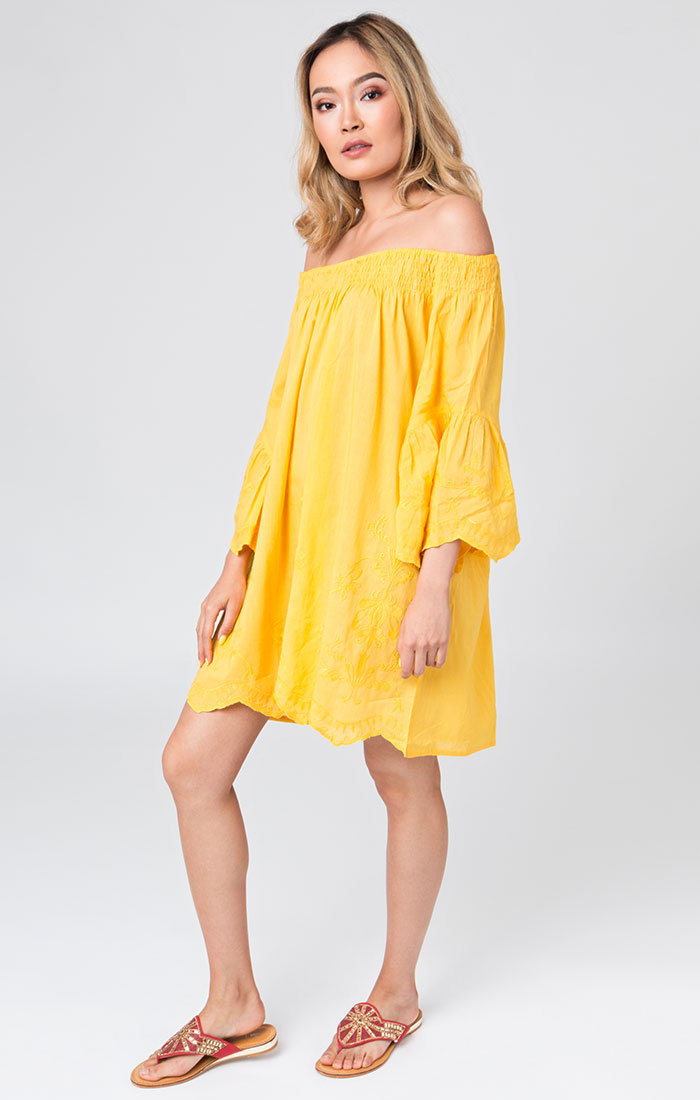 Yellow bardot style beach dress