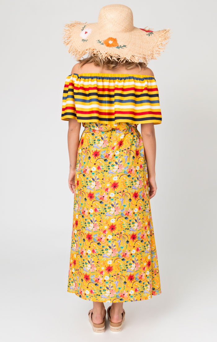 Yellow floral bardot style maxi dress