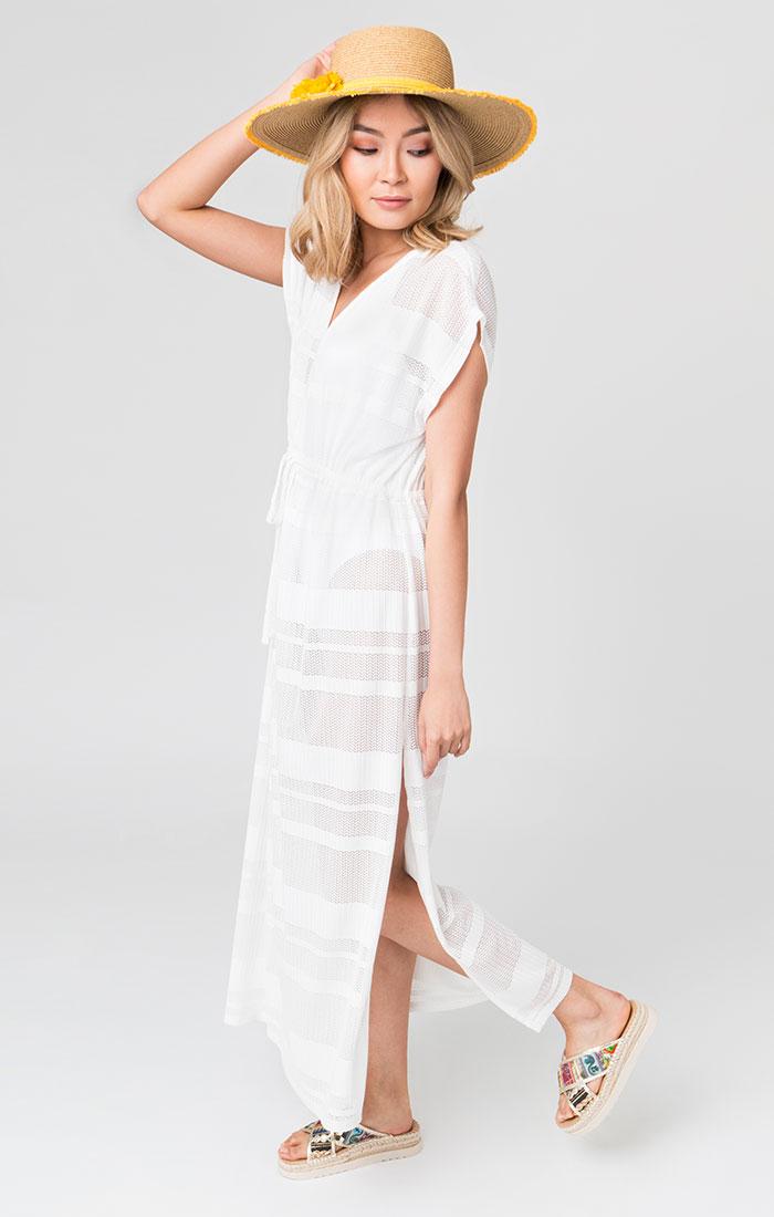 White mesh maxi dress
