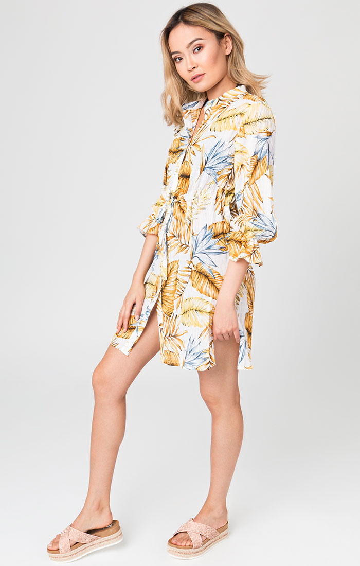 Yellow printed shirt style beach dress