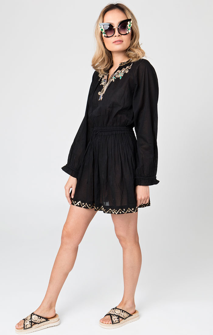 Black embellished beach dress