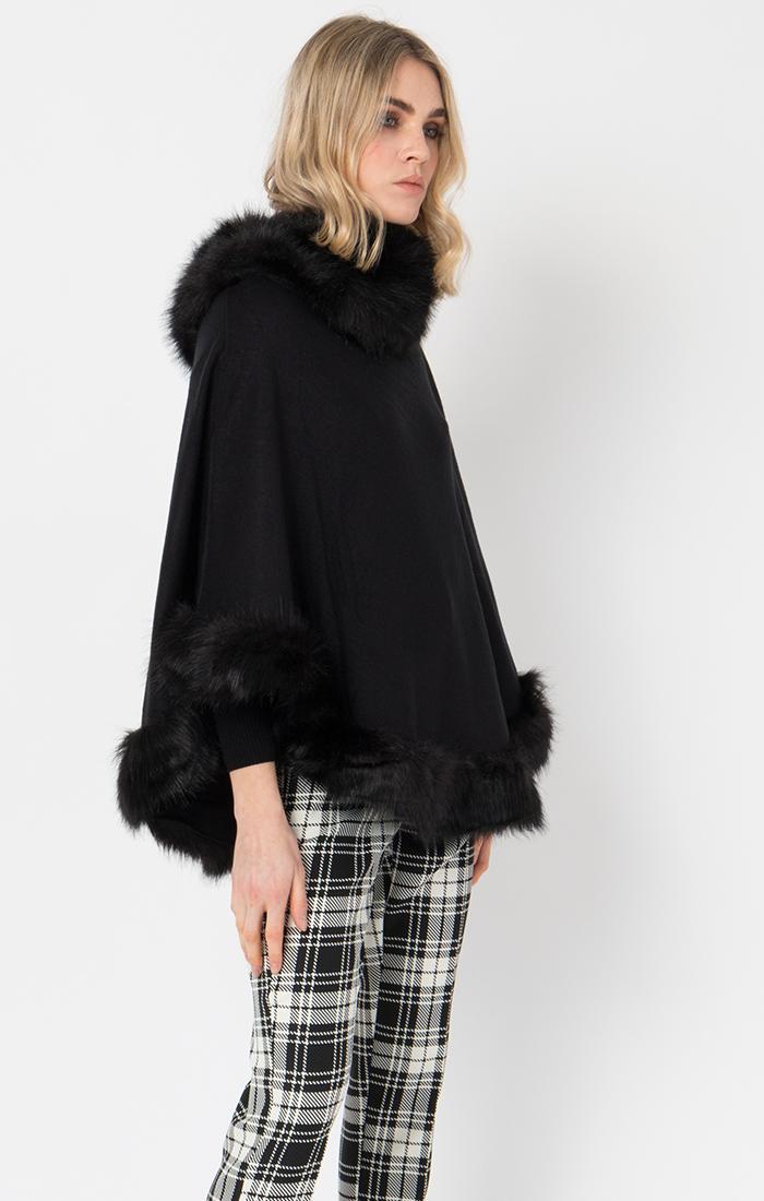 Faux fur poncho black