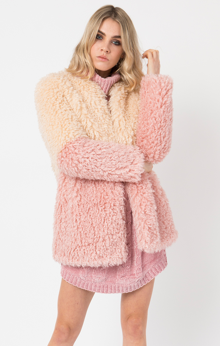 Pink and cream coat