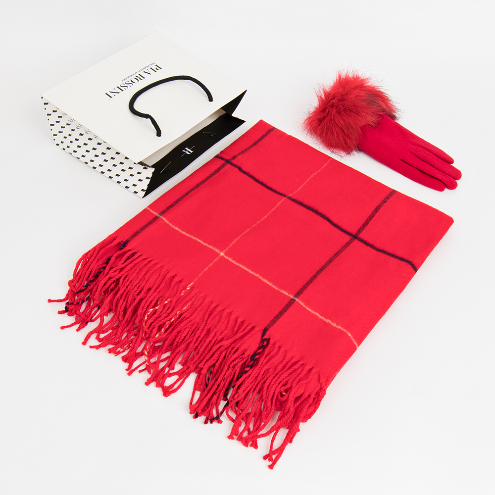 Scarf and gloves red