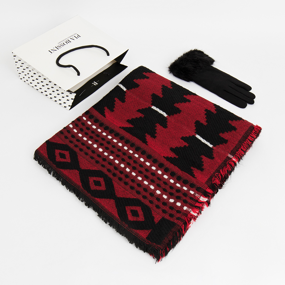 Scarf and glove set red/black